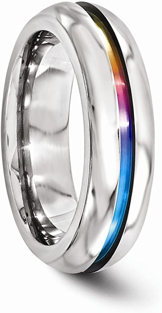 ICE CARATS Edward Mirell Titanium Anodized 6mm Wedding Ring Band Size 8.50 Classic Fancy Fashion Jewelry for Women Gifts for Her