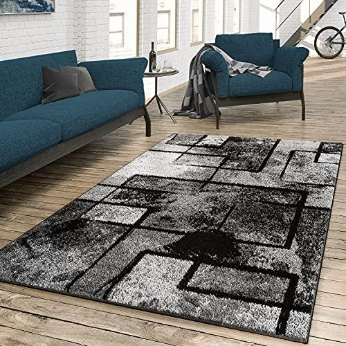Tappeto salotto 'Arte moderna astratta', grigio, nero, antracite, Polipropilene, 200 x 290 cm