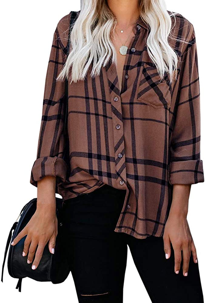 Beautife Womens Button Down V Neck Tops Casual Plaid Long Sleeve Loose Fit T Shirts Blouses