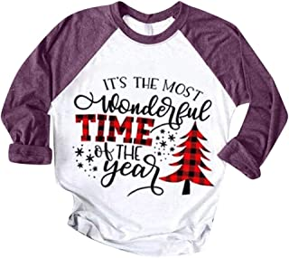 Moholl Women Merry and Bright Christmas O-Neck Sweatshirt Classic Fit Crewneck Pullover Tops Xmas Long Sleeve T-Shirt
