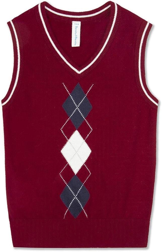 Benito & Benita BOBOYOYO Boys' Sweater Vest, School Uniform Sweater Pullover, Cotton Knit V-Neck Vest for Boy Girl Baby