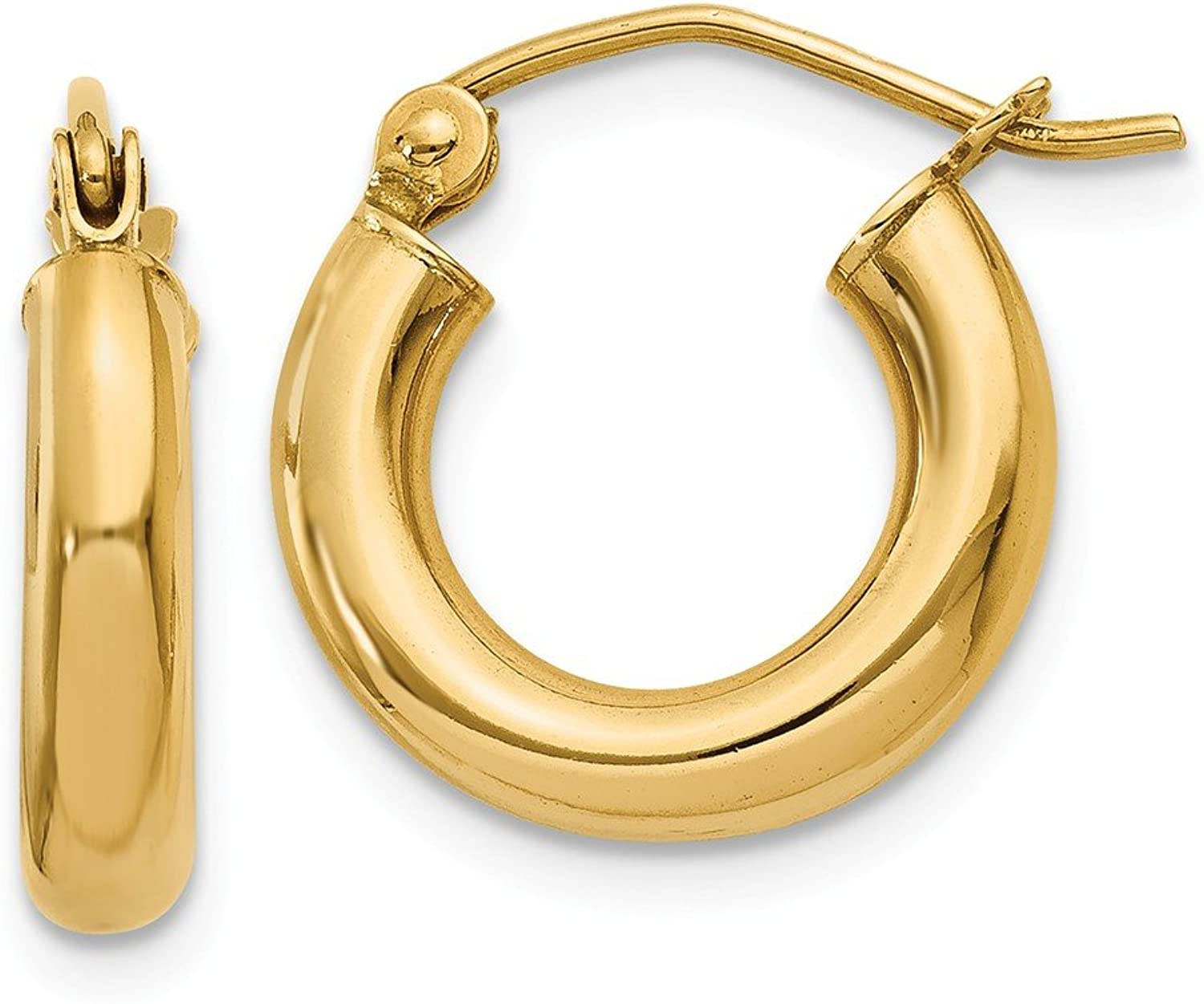 Yellowgold 14k Polished 3mm Lightweight Round Hoop Earrings
