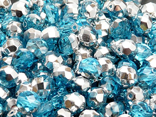 25 TSCHECHISCHE KRISTALL GLASPERLEN FACETTIERT 6mm Fire-Polished Blau X63