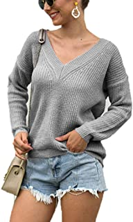 Plus Size S-5XL Women's Lightweight Sweater Knit Bottoming Shirt Sexy deep v-Neck Knit Sweater Long-Sleeved Pullover