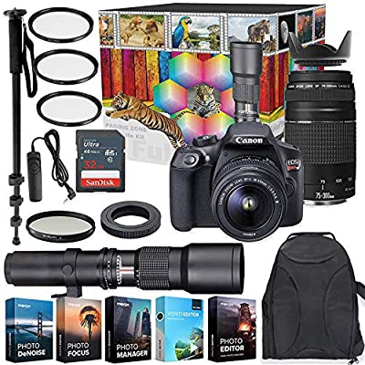 Canon EOS Rebel T6 DSLR Camera with 18-55mm & 75-300mm Lenses Kit + 500mm Preset Wildlife Lens - Deluxe Professional Photo & Video Creative Bundle