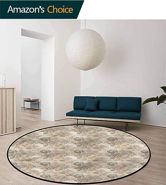 RUGSMAT Beige Round Kids Rugs Dotted Spiral Arrangement Living Room Bedroom Study Soft Carpet Round 31