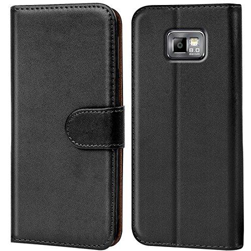 Verco Galaxy S2 Hülle, Handyhülle für Samsung Galaxy S2 Tasche PU Leder Flip Case Brieftasche - Schwarz