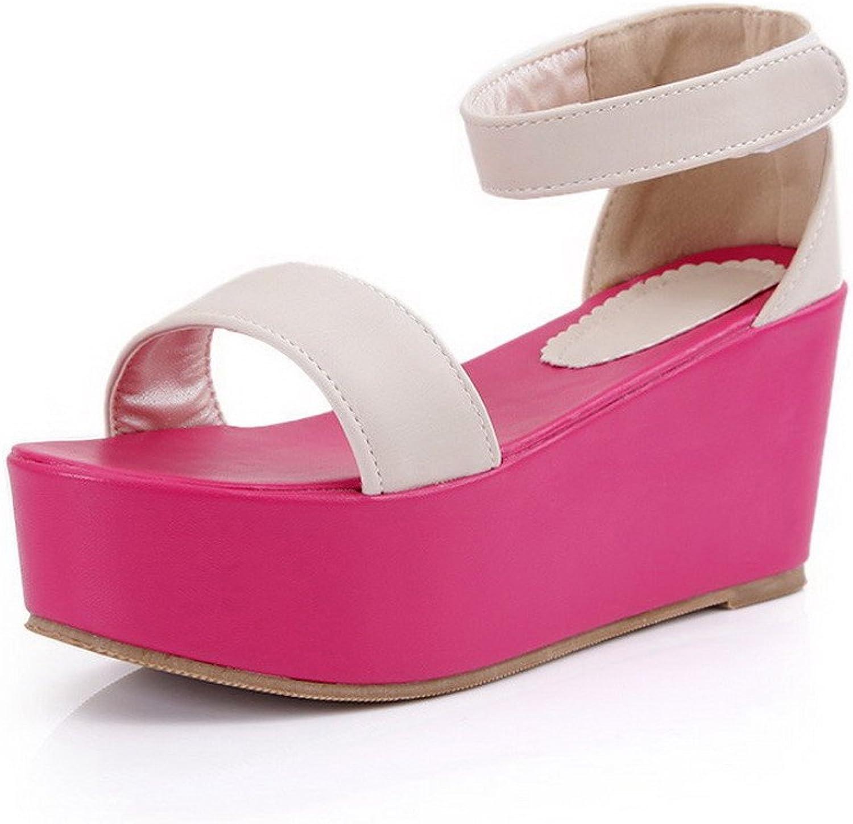 WeenFashion Women's Soft Material Open Toe High Heels Hook and Loop Solid Platforms & Wedges