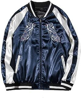 Bomber Jacket Women Peacock Embroidery Basic Jackets Unisex Jacket Coats,Blue,S