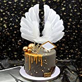 NMAS Angel Wings Cake Topper Swan Feather Decorations Romantic Design For Birthday Wedding Baby Shower, Anniversary Party Supplies
