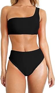 Women Two Piece Bikini Sets High Waist Swimsuit One Shoulder Off Bathing Suit