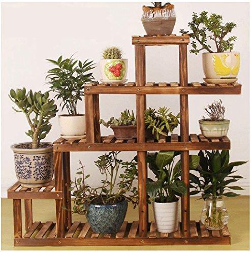 TtYj-Soporte multifuncional para flores, soporte de madera, para salón, multicapa, soporte de flores (color: A)