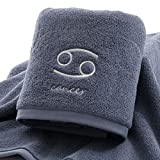 IAMZHL Juego de Toallas Gruesas de algodón Toallas de Ducha para baño Facial Doce Constelaciones Bordado Baño Grande Hogar para Adultos toha de banho-Grey Cancer2-2pcs Towel Set