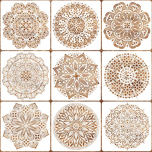 9 Pack 12x12 inches Mandala Stencils for Painting on Wood, Wall, Floor, Tile Fabric, Resuable Furniture Stencils Painting Template