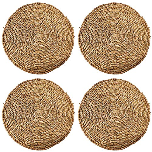 Mantel Individual Fibra Natural 4 Unidades Jacinto de Agua, Seagrass. Fibra Natural ecológico.Bajoplatos de ratán. Mantel de Mimbre Natural 4 Unidades