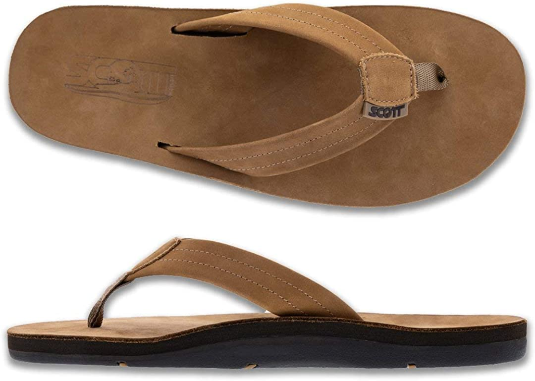 Scott Hawaii Men's Luna Sandal | Leather Flip Flop with Arch Support and Heel Cup