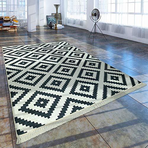 Paco Home Moderner Teppich Mit Bedrucktem Trend Rauten Muster Skandi Look Schwarz Weiß,...