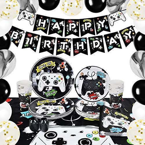 WERNNSAI Videospiel Party Zubehör - Spiel Party Dekoration für Jungen Geburtstag Banner Ballons Teller Tassen Servietten Tischdecke Geschirr Set Dient 16 Gäste 89 PCS