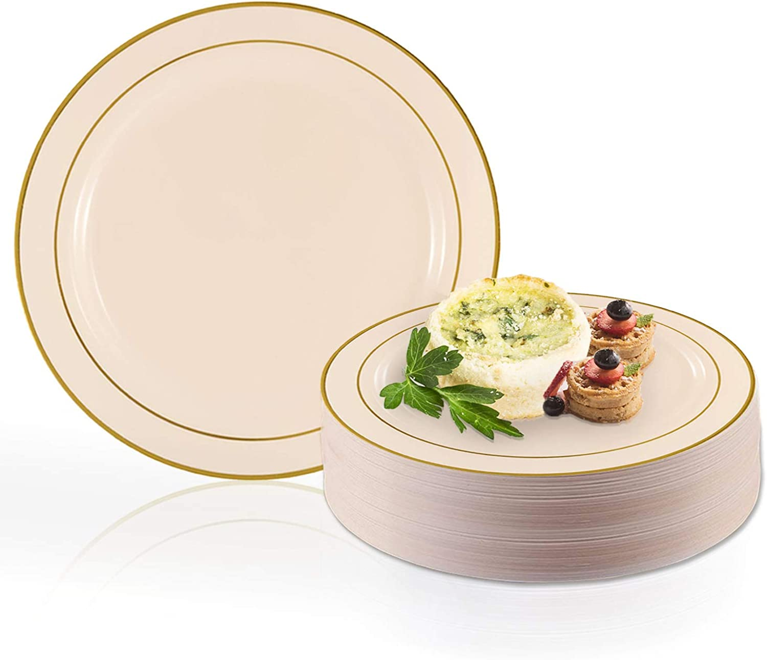 Elegant Disposable Plastic Dessert Plate Set - Heavy Duty Round Ivory with gold Salad Plates - Reusable Party Plates For Wedding, Christmas, Thanksgiving, Birthday & Other Occasions - 120 Cake Plates