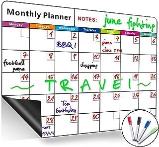 Pizarra blanca magnética de borrado en seco, con calendario mensual, organizador mensual y semanal, planificador para frigorífico de cocina, el aula escolar y sala de reuniones, color Horizontal