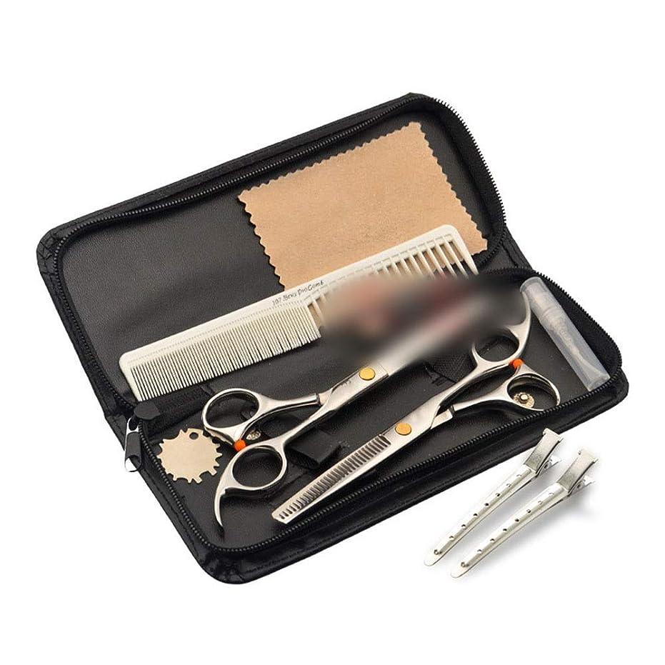 クラウン土暫定6.0インチプロフェッショナル理髪はさみセット、フラットはさみ+歯プロフェッショナル理髪はさみツールセット モデリングツール (色 : ゴールド)