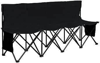 SONLEX Campingbank Faltbank 2-Sitzer Angelstuhl klappbar blau mit Getr/änkehalter Tragetasche