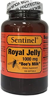 Sentinel Premium Royal Jelly Superfood 1000 mg, Protein Based, Bee's Milk, Natural Skin and Health Nutritive Support, Made...