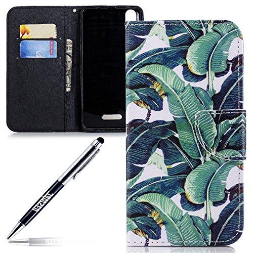 JAWSEU Phone Case Wiko Lenny 4 Plus Cases PU Leather Portefeuille Flip Case Cover veer vogel patroon, Grün Bananenblätter