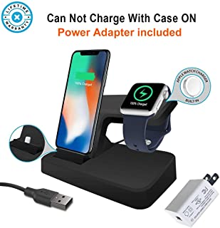 EloBeth Compatible Charger Stand & Wireless Charger Stand Apple Watch Series 3,2,1,【Power Adapter included】Charger Stand holder Compatible with iPhoneXS/X/8/8 Plus/7/7Plus/6/6Plus
