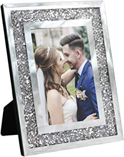 Afuly Wedding Glass Picture Frame 4x6 Silver Photo Frame for Couples Sparkle Glitter Gifts Display on Desk