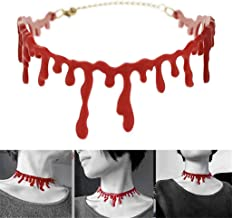sisileeda Horror Blood Red Joker Choker Necklace Halloween Frankenstein Punk Rock Deathrock for Women Girl Halloween Neckl...