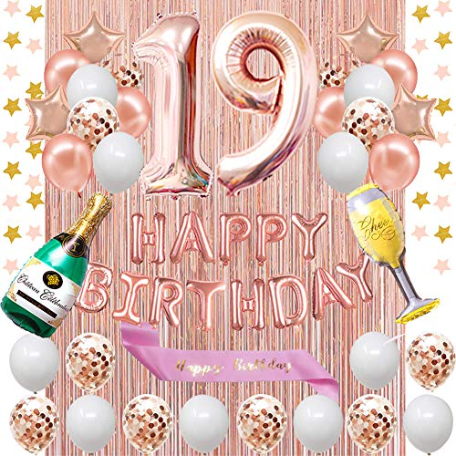 Fancypartyshop 19th Birthday Decorations - Rose Gold Happy Birthday Banner and Sash with Number 19 Balloons Latex Confetti Balloons Ideal for Girl and Women 19 Years Old Birthday Rose Gold