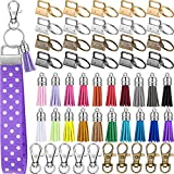 60 Pieces Key Fob Hardware Set Include 20 Key Fob Hardware Wristlet with Keyring and 20 Leather Keychain Tassel 20 Swivel Snap Hook for Key Chain Hardware Supplies (Silver, Bronze, Gun-Black, Gold)