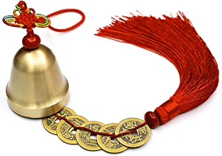 Lalago Chinese Feng Shui Bell for Wealth and Safe, Pendant Coins for Success, Ward Off Evil, Protect Peace - Also Can Used As Wind Chimes, Car Interiors (Red)