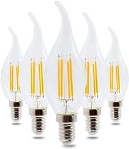 SGJFZD 5PCS E14 Warm White/Cool White LED COB Bulb Glass Shell LED Candle Light Edison (Color : Cool White)