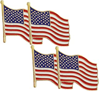 WAYDA 4Pcs American Flag Pins, American Flag Waving Lapel Pins for Patriotic events, Election parties and Polling Place Volunteers.
