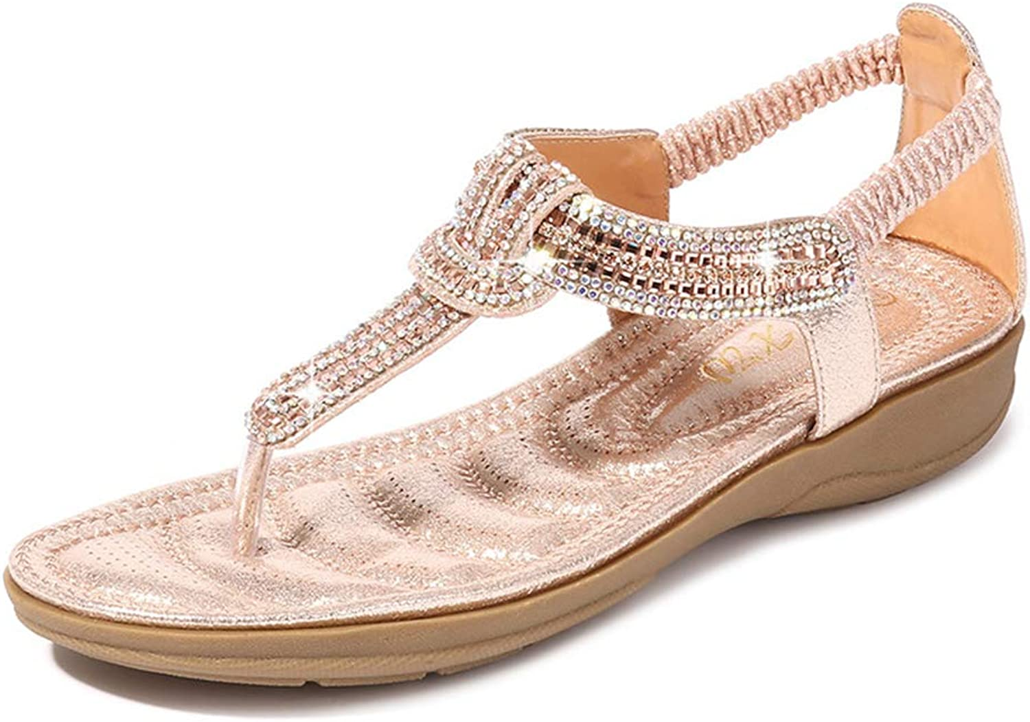 Baviue Women's Flat Fashion Leather Jeweled Thong Sandals Sandles