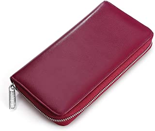 SRY Mens Long Wallet Large Capacity Credit Card Package RFID Anti-Theft Multi-Function Package Card Package Unisex (Color : Purple, Size : S)