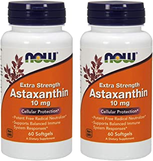 NOW Foods Astaxanthin 10mg 60 SoftGels (2 Pack)