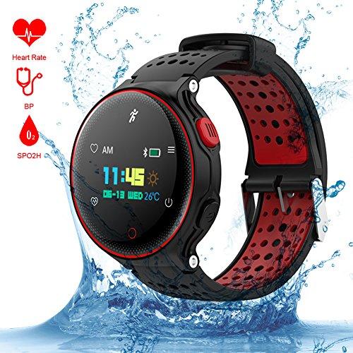 Padgene, Smart Sportarmband, voor de Gezondheid, IP68, Waterdicht, met Hartslagmeter, Stappenteller, Fitness, Activity Tracker voor Android en iOS, Rood