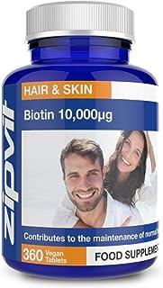 Biotina 10,000mcg, 360 Comprimidos. La Potencia Más Alta para un Pelo Saludable. 10,000µg.