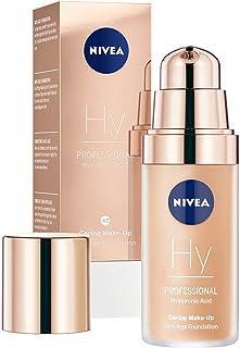 NIVEA PROFESSIONAL Ácido hialurónico, base de maquillaje profesional, 40W, pieles oscuras, maquillaje antiedad para reducir las arrugas, base para maquillaje con triple efecto antiedad, 1 x 30 ml
