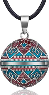 "EUDORA Harmony Ball Necklace Vintage Colorful Creative Music Chime Bell Wishing Bola Enamel Craft Pendant, 30"" & 45"" Long Cord for Pregnancy"
