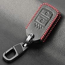 VistorHies - Smart Remote Leather Car Key Case Cover For Honda Vezel city civic Jazz BRV BR-V HRV Key Case Fob 2 Button