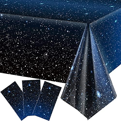 3 Stück Weltraum-Tischdecke Sternennacht Tischdecke Dekorationen Kunststoff Galaxie Tischdecke Weltraum Sterne Thema Party Supplies für Geburtstag Home Decorations 54 x 274 cm