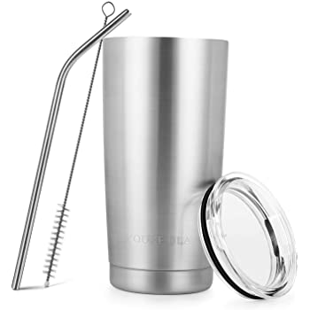 Stainless Steel Tumbler 20oz - Vacuum Insulated Tumbler Coffee Cup Double Wall Large Travel Mug with Lid, Straw, Brush (Silver, 20oz-1 Pack)