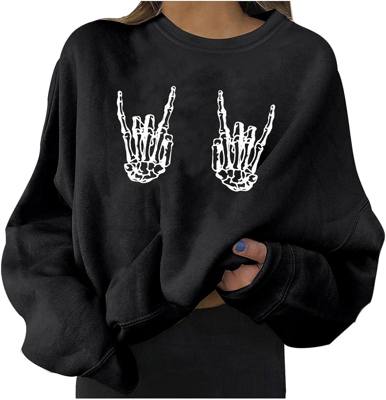 POLLYANNA KEONG BABAKE Womens Funny Skull Print Sweatshirts Loose Shirts Halloween Long Sleeve Pullover Tops Blouses