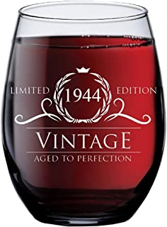 1944 75th Birthday Gifts for Women and Men Wine Glass | Funny Vintage 75 Year Old Presents | Best Anniversary Gift Ideas Him Her Husband Wife Mom Dad | 15 oz Stemless Glasses | Party Decorations Wines