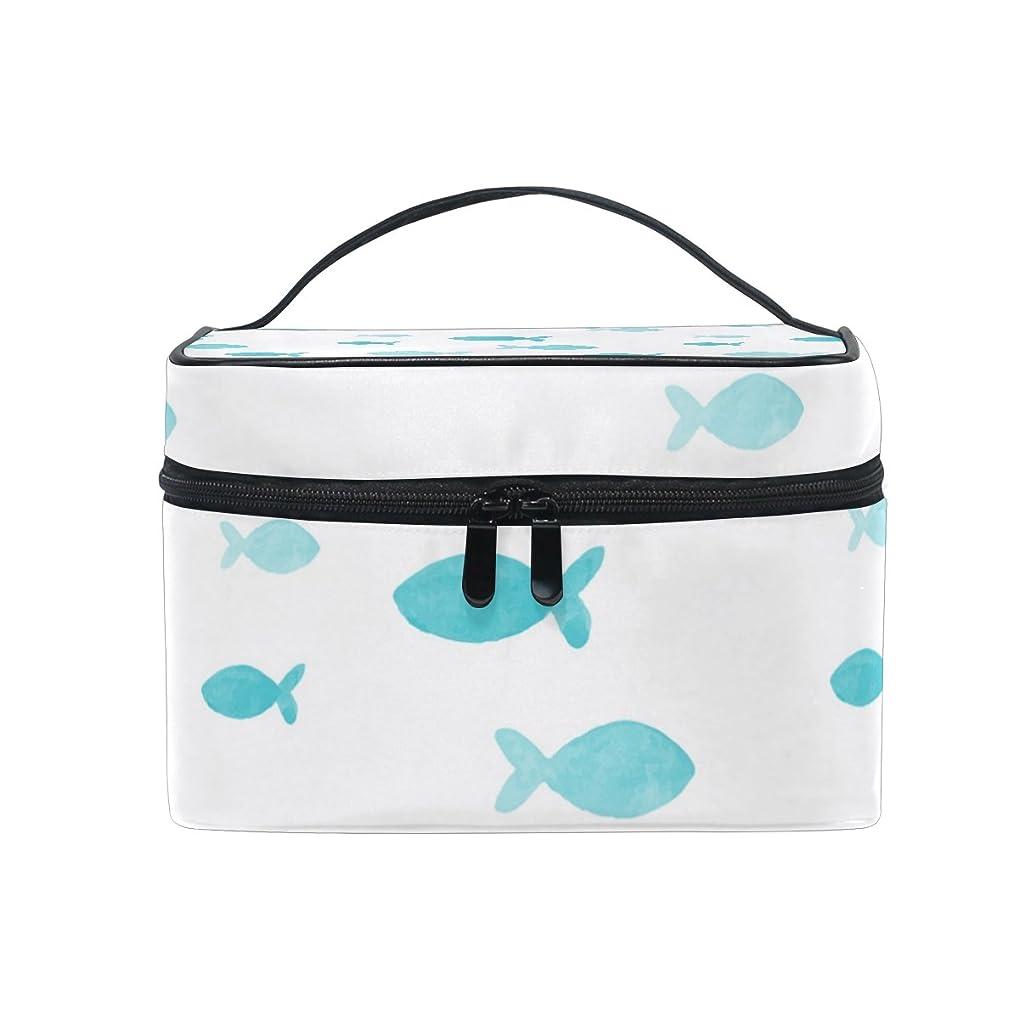 テメリティスロベニア延ばすALAZA 化粧ポーチ 魚柄 さかな柄 化粧 メイクボックス 収納用品 ホワイト 大きめ かわいい