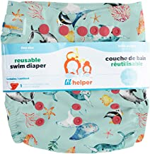 Lil Helper Reusable Swim Diapers | Baby Boys & Girls | Easy One Size Fits All, Adjustable, High Quality, Patterns/Prints, No Stains (Narwhals)